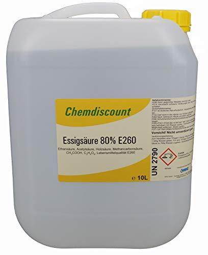 10Liter (ca. 10,7kg Inhalt) Essigsäure 80%, Lebensmittelqualität E260, versandkostenfrei!