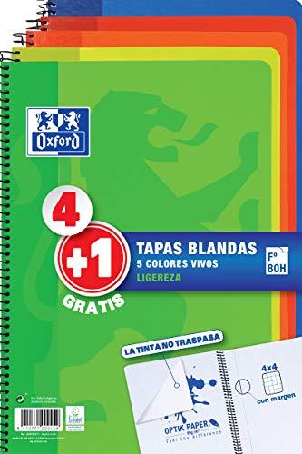Pack 4+1 Cuadernos Folio(A4) Oxford. Tapa Blanda. 80 Hojas cuadrícula 4x4. Surtido aleatorio vivos.
