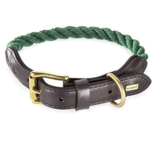 Embark Pets Country Dog Rope Collar - Braided Cotton and Leather Finish -Small, Medium, Large and Extra Large Collars for Dogs - Durable and Strong Build for Training, Walking, Running (XL, Green)