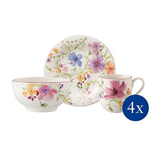 Villeroy & Boch Mariefleur Basic Ensemble petit-déjeuner pour 4 personnes, 12 pièces, Porcelaine Premium, Blanc/Multicolore