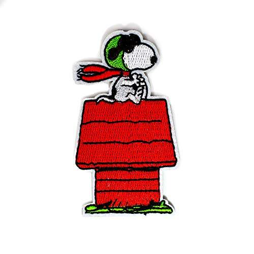Cute Snoopy Pilot Red Dog House Pilot Peanuts Embroidery Patches Iron On Patches 1.5 x 3' (1 Patch)
