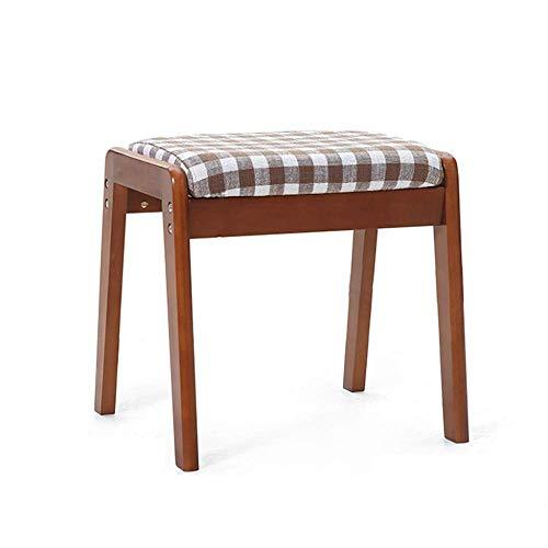 Stapelbarer Esszimmerstuhl aus Holz Wohnzimmer Schminktisch Make-up Sitz Stuhl Hocker Gepolstertes weiches Kissen mit abnehmbarem Leinenbezug D-Braun