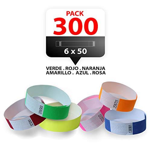 Pack 300 Pulseras TYVEK para eventos 19mm Multi colores