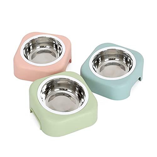 Dzwyc Mascotas Removibles Tazón de Acero Inoxidable Perro para Perros Alimentos de la Comida del Cuello Feeder Waterer (Color : Blue+Green+Pink)