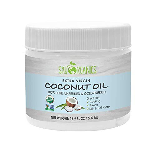 Organic Extra Virgin Coconut Oil by Sky Organics (16.9 oz) USDA Organic Coconut Oil,...