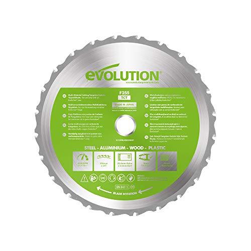 Evolution Power Tools FURYBLADE255MULTI - Hoja de Sierra Multiuso con Punta de Acero de Carburo FURY, 255 mm, Plata/Verde