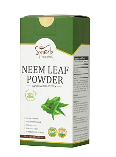 Spierb Herbal Neem Leaf Powder – Wild Crafted Green Neem Leaves Powder - Excellent for Skin, Blood and Detox - Healthy 100% Pure Azadirachta Indica Ayurvedic Herb for Better Immune System (250 gm)
