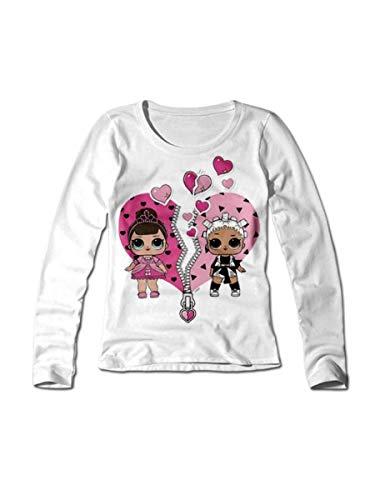 LOL SURPRISE t-Shirt Bambina in Cotone bielastico Girocollo Natale 2018 - Art. 20755 (Rosso, 4 Anni)