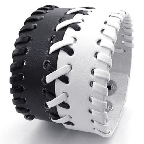 KONOV Schmuck Herren Damen Armband, Breit Druckknopf Armreif, Passend für 16.5-19.5cm, Leder Legierung, Weiß Schwarz