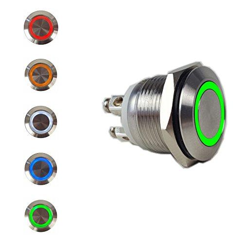 Edelstahl Drucktaster 19 mm mit Beleuchtung Taster Klingelknopf Hupenknopf Klingeltaster 4 Schraubkontakte IP65 IK10 6V 12V 220V