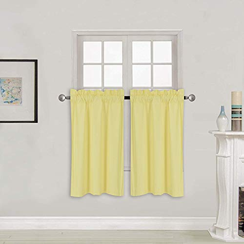 """Home Collection 2 Panels 100% Blackout Curtain Set Solid Color with Rod Pocket Short Tier Drapes for Kitchen, Dinning Room, Bathroom, Bedroom ,Living Room Window New (58"""" Wide X 34"""" Long, Yellow)"""