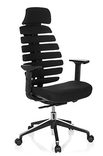 hjh OFFICE 714540 Profi Bürostuhl Ergo LINE II PRO Stoff Schwarz ergonomischer Drehstuhl mit Lordosen- und Kopfstütze