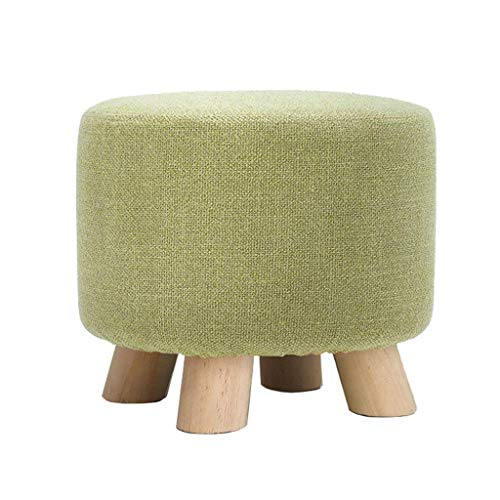 ZHENGTAO Footrest Seat, Changing Green Shoe Small Bench Durable Round Chair Foot Rest Household Wood Solid Wood Cotton Linen Makeup Stool Puff Puff Foot Puff Rest forKitchen Living Room