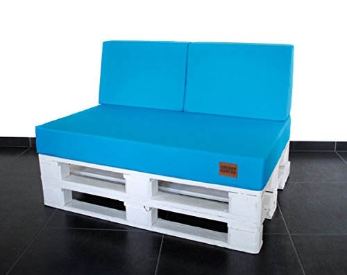 Mayaadi Home Palettenauflage passend für Europalletten Palettenpolster Paletten-Sitzsofa für Drinnen und Draußen MH-GD03 (60x40x10/20 cm Schaumstoff, Türkis)