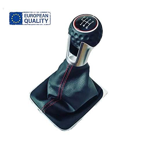 AutoFullCar - Pomo Golf GTI | 5 y 6 velocidades pelota golf piel con fuelle y marco para Golf VII MK7 cambio marchas coche manual (6 VELOCIDADES)