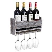 halcent portabottiglie vino porta bottiglie da vino organizer scaffale portabottiglie da parete con 4 supporti per bicchieri a stelo lungo