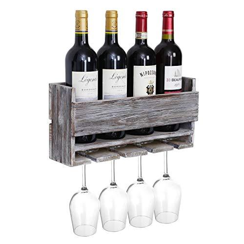 Halcent Weinregal Weinhalter Wand Flaschenregal Holz Weinflaschenhalter Ablage Weinständer für 4 Flaschen und 4 Gläser