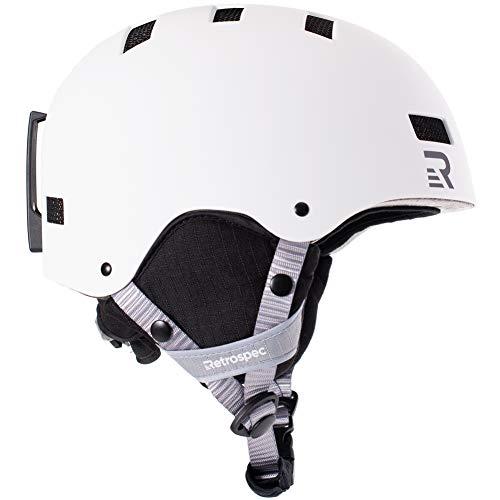 Retrospec Traverse H1 Ski & Snowboard Helmet, Convertible to Bike/Skate, Matte White, Medium (55-59cm)