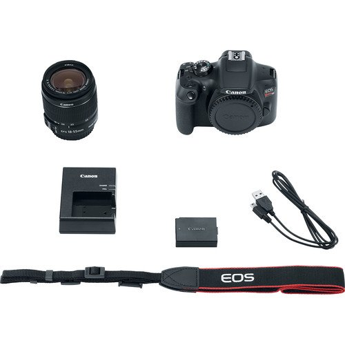 Canon EOS Rebel T6 Digital SLR Camera with Canon EF-S 18-55mm Image Stabilization II Lens, Sandisk 32GB SDHC Memory Cards, Accessory Bundle