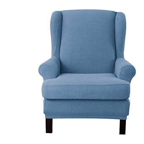 E EBETA Jacquard Sesselbezug, Sessel-Überwürfe Ohrensessel Überzug Bezug Sesselhusse Elastisch Stretch Husse für Ohrensessel (denimblau)