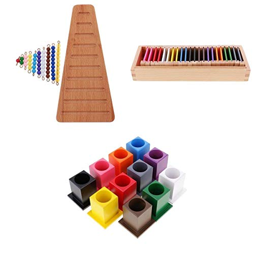 XUSHEN-HU Montessori Materiales de Juguete de Bolas de matemáticas Escaleras, Caja de Color, Color de la Pluma Titular Bolígrafo