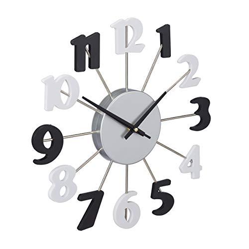 Relaxdays Orologio da Parete, senza Cornice, con Lancetta dei Secondi, Analogico, Salotto, Cucina, D: 35 cm, Nero-Bianco