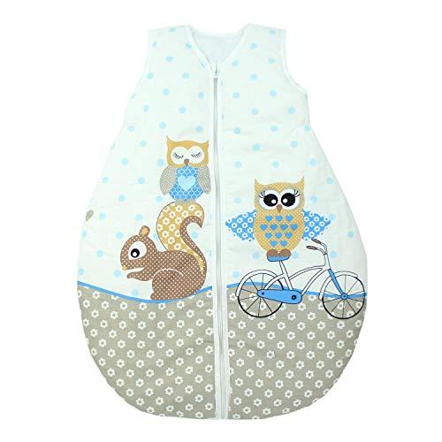 TupTam Unisex Baby Schlafsack ohne Ärmel Wattiert, Farbe: Eulen 2 Blau, Größe: 80-86