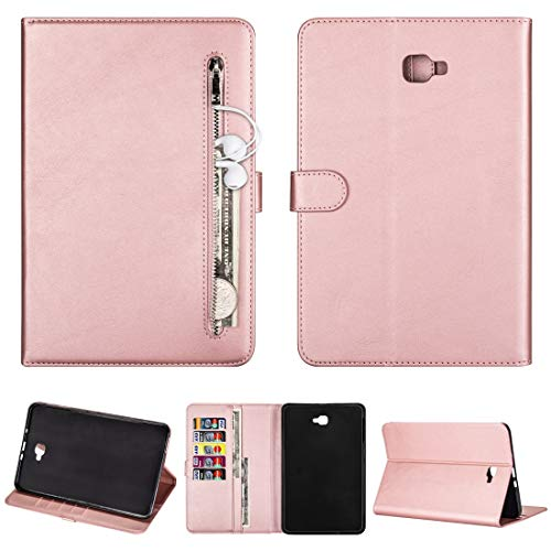 QGT for Samsung Galaxy Tab A10.1 T850 / T585 Tablet Fashion Calf Texture Zipper Horizontal Flip Leather Case with Stand & Card Slots & Wallet & Wake-up/Sleep Function (Color : Rose Gold)