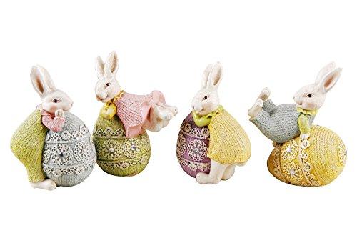 misslight Statue del Coniglietto di Pasqua e Uova Colorate (Style1)