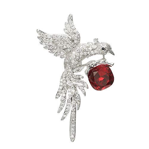 ZHBSS Herrschsüchtige Adler-Art, Art- und Weisekoreanische Strickjacke-Zusätze, eingelegte feine Edelsteine 6.1 * 4.1cm weißes Goldrubin