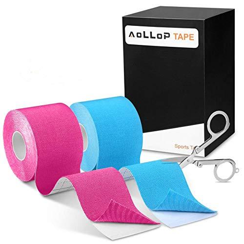 2 Rollen Kinesiologie Tape, Physio Tape Sports Tape Elastische Bandagen Muskel Tapes wasserfest dusch- und schweißresistent Kinesio Tape