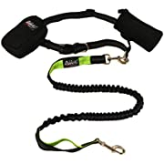Riddick's Hands Free One & Two Dog Leashes for Running, Walking, Hiking, Training, Premium Dual-Handle 4ft Bungee Leash, Reflective Stitching, Adjustable Waist Belt, Accessories New for Two Dog Leash