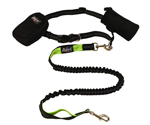 Riddick's Hands Free One & Two Dog Leashes for Running, Walking, Hiking, Training, Premium Dual-Handle 4ft Bungee Leash, Reflective Stitching, Adjustable Waist Belt,Accessories New for Two Dog Leash