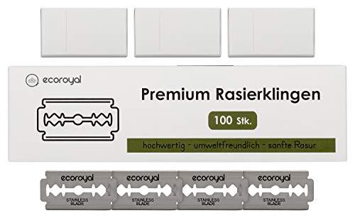 EcoRoyal Rasierklingen für Rasierhobel und Rasiermesser | 100er Pack | Rostfrei | Ersatzklingen für Rasierhobel Damen und Herren | Premium Rasier Klingen | Razor Blades