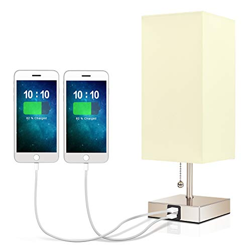 USB Bedside Table Lamp,Seealle Minimalist Linen Bedroom Light, with 2...