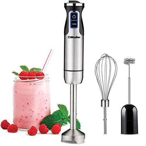 Mueller Austria's Stainless Steel 9-Speed Immersion Hand Blender With Whisk, Milk Frother Attachments