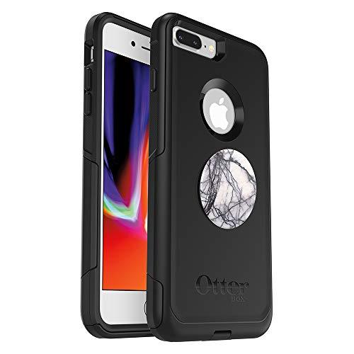 B&le: OtterBox Commuter Series Schutzhülle für iPhone 8 Plus und iPhone 7 Plus (nur) – (schwarz) + PopSockets PopGrip – (Taube White Marmor)