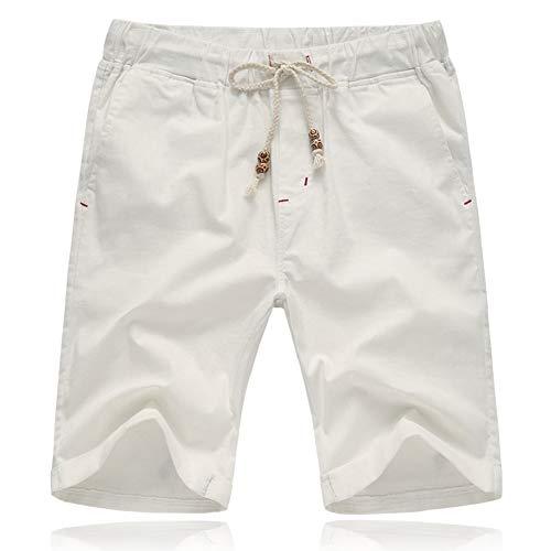 Tansozer Pantaloncini Uomo Estivi Lino Cotone Casual con Tasche Bianco L