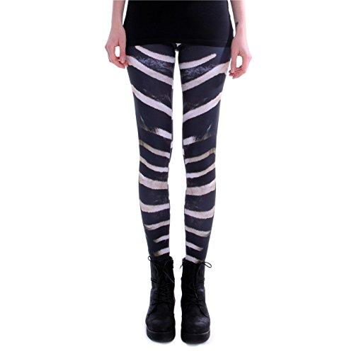 cosey - Bedruckte Bunte Leggins (Einheitsgröße) Verschiedene Leggings Designs, Zebra, Einheitsgröße