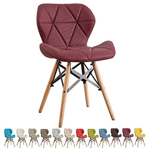 Living Equipment Nordic Esszimmerstühle Retro Grain Leather Soft Case Sitzposition Natürliche Massivholzbeine und Metallrahmen Robuster, bequemer Küchenstuhl mit Schmetterlingsrücken (Farbe: Gelb G
