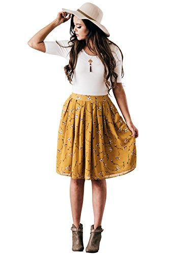 Mikarose Chiffon Modest Skirt In Mustard Yellow w/Floral Print, Knee-Length Pleated Skirt