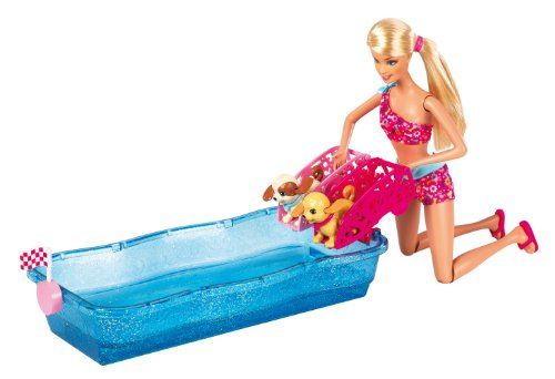 Mattel Barbie X8404 - Hunde-Schwimmwettbewerb, Puppe und Zubehör