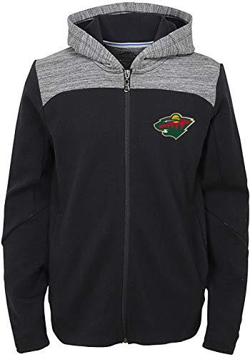 Outerstuff NHL Kids Kids 4-7 Black Centripetal Full Zip Primary Logo Sweatshirt Hoodie (Minnesota Wild, 7)