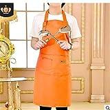 XMYNB Suministros para hornear Delantal De Alimentos Sólidos Para El Café Hombres Piensan Que Las Mujeres Niño Grill Peluquería Delantales Babero,Naranja