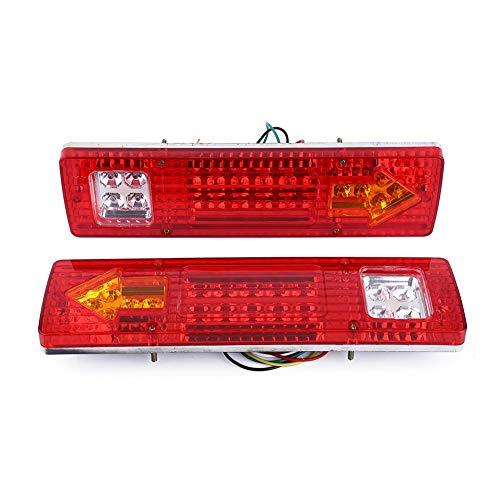 Qiilu Feu Arrière LED Clignotant de Position Stationnement 2x 12V 19LED Feux de Frein Arrêt d'Arrêt Indicateur de Tour Pour Voiture Camion(Conque rouge)