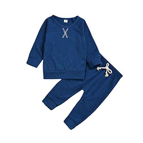 Cuteelf Langärmliges Normallackhemd der Kinder + Normallackhosen stellten neugeborenes Baby EIN Normallackhemd-Gummibandhosen-Hauptservice-Baumwollbequemes Pyjamaset EIN