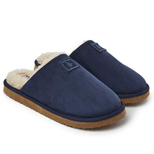 Dunlop Zapatillas Casa Hombre, Memory Foam Pantuflas Peluche Abiertas, Zapatillas De Estar En Casa Invierno Calientes Suela de Goma Dura Interior Exterior, Regalos para Hombre (46 EU, Azul Navy)