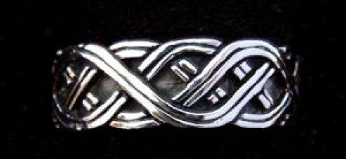 Battle-Merchant Nordmannen Ring aus Silber Wikingerring mit Knotenmuster LARP Wikinger Mittelalter Verschiedene Größen (22/70)