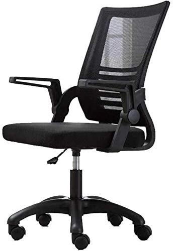 BeingHD Qualitätsbürostuhl, Bürostuhl mit Armlehne Bürostuhl, Mid Back Mesh Office Computer Swove Desk Task Chair, ergonomischer Executive Chair mit Armlehnen (Color : Black)