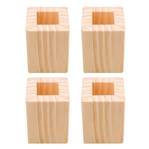 ZHPBHD 4pcs 6x6x8.3cm hasta 5 cm Altura Cerrado Cuadrado Levantamiento de Madera Escritorio de Madera Riser Levantador Muebles Muebles Pies Ascensores Almacenamiento